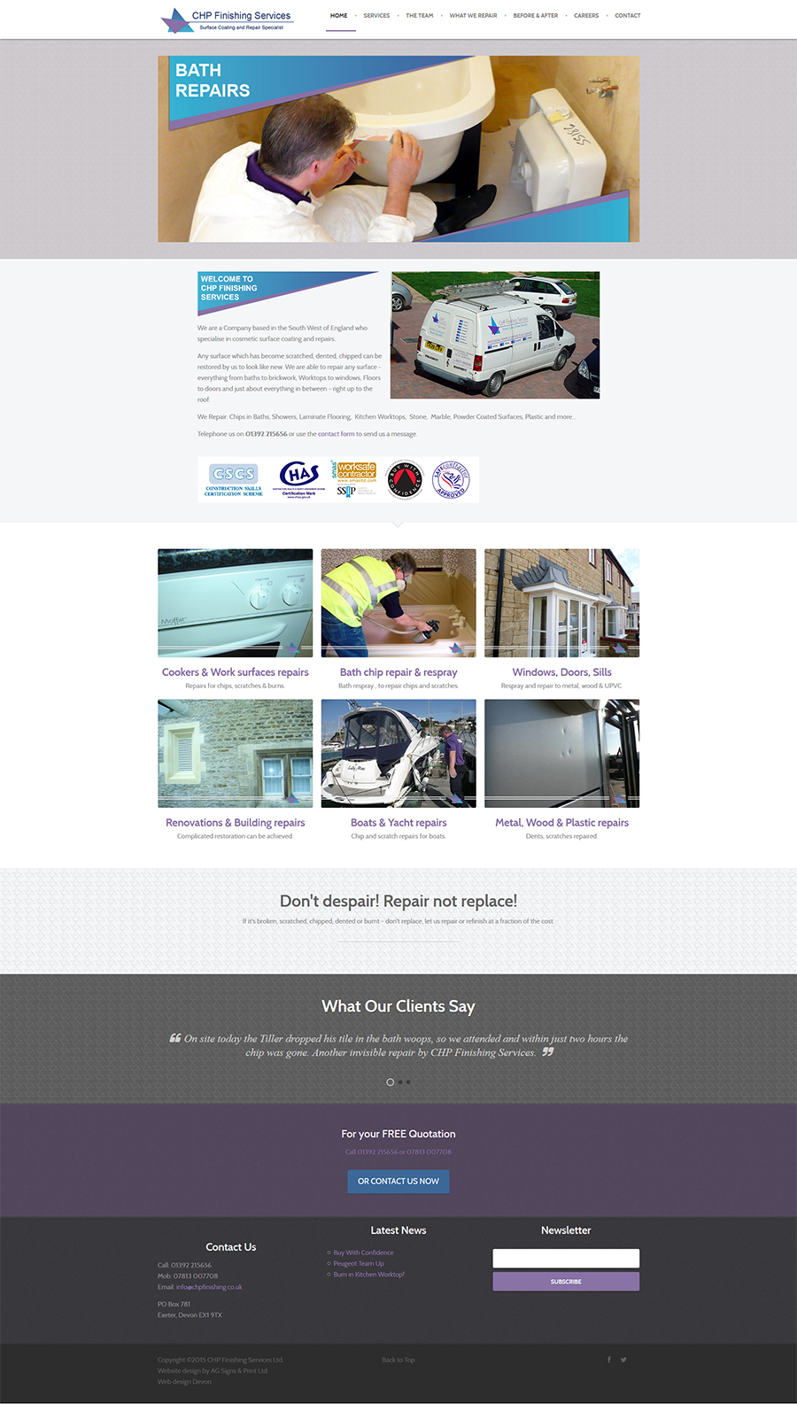 web design Exeter CHP Finishing
